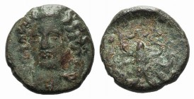 Sicily, Syracuse, c. 415-405 BC. Æ Tetras (11.5mm, 1.83g, 7h). Head of nymph facing slightly l., wearing necklace. R/ Octopus. CNS II, 29; SNG ANS 385...