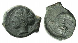 Sicily, Syracuse, c. 405-400 BC. Æ Hemilitron (18mm, 3.40g, 10h). Head of Arethusa l. R/ Dolphin r., below, shell. CNS II, 24; SNG ANS 417. Green pati...