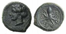 Sicily, Syracuse, c. 400 BC. Æ Tetras (12mm, 2.71g, 9h). Head of Arethusa l., hair in sphendone. R/ Octopus. CNS II, 14; SNG ANS 389-91. Green patina,...