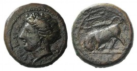 Sicily, Syracuse, c. 317-310 BC. Æ Trias(?) (15mm, 4.00g, 12h). Head of Kore l. R/ Bull butting l.; dolphin above; letter in exergue. CNS II, 99. Brow...