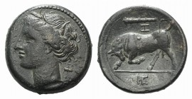 Sicily, Syracuse, c. 275-269 BC. Æ Hemilitron (18mm, 5.68g, 9h). Wreathed head of Kore l. R/ Bull butting l.; club and Z above, IE in exergue. CNS II,...