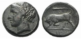 Sicily, Syracuse, c. 275-279 BC. Æ Hemilitron (17mm, 5.47g, 12h). Wreathed head of Kore l. R/ Bull butting l.; club and Z above, IE in exergue. CNS II...
