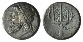 Sicily, Syracuse, c. 275-215 BC. Æ Litra (20mm, 8,58g, 3h). Diademed head of Poseidon l. R/ Ornamented trident head flanked by two dolphins; CNS II, 1...