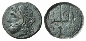 Sicily, Syracuse, c. 275-215 BC. Æ Litra (20mm, 9.18g, 6h). Diademed head of Poseidon l. R/ Ornamented trident head flanked by two dolphins; CNS II, 1...