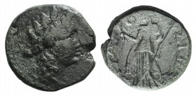 Sicily, Syracuse, after 212 BC. Æ (18mm, 7.88g, 11h). Wreathed head of Persephone r. R/ Demeter standing facing, holding sceptre and long torch. CNS I...