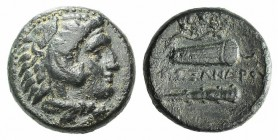 Kings of Macedon. Alexander III 'the Great' (336-323 BC). Æ (17mm, 5.50g, 11h). Uncertain Macedonian mint. Head of Herakles r., wearing lion's skin. R...