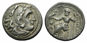 Kings of Macedon, Alexander III 'the Great' (336-323 BC). AR Drachm (17mm, 4.19g, 11h). Magnesia ad Meandrum, c. 323-319 BC. Head of Herakles r., wear...