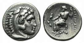 Kings of Macedon. Alexander III 'the Great' (336-323 BC). AR Drachm (17mm, 4.20g, 2h). c. 325-323. Head of Herakles r., wearing lion's skin. R/ Zeus A...
