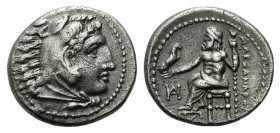 Kings of Macedon, Alexander III 'the Great' (336-323 BC). AR Drachm (16mm, 4.17g, 12h). Miletos, c. 325-323 BC. Head of Herakles r. wearing lion's ski...