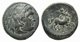 Kings of Macedon, Philip III (323-317 BC). Æ Unit (19mm, 6.42g, 12h). Uncertain mint in Macedon. Head of Herakles r., wearing lion skin. R/ Rider on h...