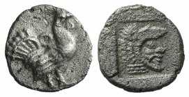 Thrace, Dikaia, c. 480-450 BC. AR Trihemiobol (9mm, 0.97g, 9h). Cock standing r. R/ Head of Herakles r., wearing lion skin, within incuse square. Schö...