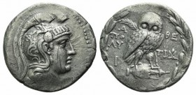 Attica, Athens, c. 149-8 BC. AR Tetradrachm (31mm, 16.51g, 12h). New Style Coinage. Polychares and Timarchides, magistrates. Helmeted head of Athena r...