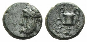 Cyclades, Syros, 3rd-1st centuries BC. Æ (11mm, 1.98g, 12h). Wreathed head of Dionysos l. R/ Kantharos. SNG Copenhagen -; cf. Laffaille 134 (symbols)....
