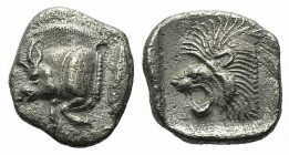 Mysia, Kyzikos, c. 450-400 BC. AR Obol (10mm, 0.78g, 9h). Forepart of boar l.; to r., tunny upward. R/ Head of lion l. within incuse square. Von Fritz...