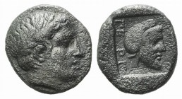 Mysia, Pergamon, c. 450 BC. AR Diobol (10mm, 1.60g, 1h). Laureate head of Apollo r. R/ Bearded head r., wearing Persian tiara, within incuse square. V...