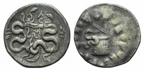 Mysia, Pergamon, c. 133-67 BC. AR Cistophoric Tetradrachm (26mm, 12.53g, 12h). Cista mystica with serpent; all within ivy wreath. R/ Bow-case with ser...