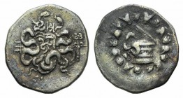 Mysia, Pergamon, c. 128-123 BC. AR Cistophoric Tetradrachm (25mm, 12.56g, 12h). Cista mystica with serpent; all within ivy wreath. R/ Bow-case with se...