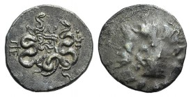 Mysia, Pergamon, c. 123 BC. AR Cistophoric Tetradrachm (25mm, 12.43g, 12h). Cista mystica with serpent; all within ivy wreath. R/ Bow-case with serpen...