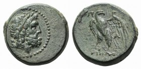 Mysia, Pergamon, early-mid 2nd century BC. Æ (21mm, 8.51g, 12h). Head of Asklepios r. R/ Eagle standing l., head r., on thunderbolt. SNG BnF 1870–1. G...