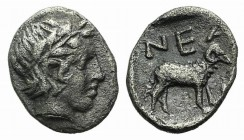 Troas, Neandria, 4th century BC. AR Obol (8mm, 0.54g, 6h). Laureate head of Apollo r. R/ Ram standing r. in shallow incuse square. SNG München 293; SN...