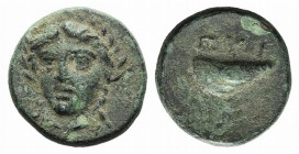 Aeolis, Gyrneion, 4th century BC. Æ (11mm, 1.58g, 3h). Laureate head of Apollo facing slightly l. R/ Mussel shell. SNG München 439; SNG Copenhagen 205...