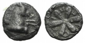 Aeolis, Kyme, 4th century BC. AR Hemiobol (6mm, 0.26g). Forepart of horse r. R/ Floral pattern. SNG München 441; SNG Copenhagen 34. Near VF