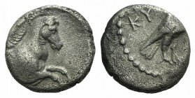 Aeolis, Kyme, c. 350-250 BC. AR Hemidrachm (12mm, 1.97g, 11h). Eagle standing r., head reverted. R/ Forepart of horse r. SNG Asmolean 1262-4; SNG Cope...