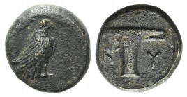 Aeolis, Kyme, c. 350-320 BC. Æ (9mm, 1.49g, 12h). Eagle standing r. R/ One-handled vase. SNG Copenhagen 41-3; SNG von Aulock 1625. Brown patina, Good ...