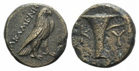 Aeolis, Kyme, c. 350-250 BC. Æ (16mm, 3.95g, 6h). Alkamenes, magistrate. Eagle standing r. R/ One-handled vase. Cf. SNG Copenhagen 46ff. (magistrate)....
