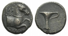 Aeolis, Kyme, c. 300-250 BC. Æ (13mm, 2.89g, 12h). Forepart of a horse r. R/ One-handles vase. Cf. SNG Copenhagen 69-86. Brown patina, VF