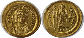 Byzantinische Munzen. Justinian I the Great (AD 527-565). AV-Solidus (21mm, 4.48 gm, 6h). Constantinople, 8th officina, AD 545-565. D N IVSTINI-AVS P ...