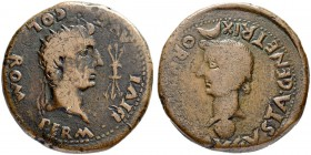 IBEROCELTS. ROMULA. Tiberius, 14-37. Dupondius 14/37, Romula. Obv. Radiate head of Divus Augustus to r.; star above, thunderbolt to r. Rev. Head of Li...