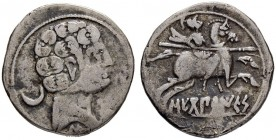 IBEROCELTS. SEGOBRIGA. Denarius 120/30. Obv. Head to r., crescent on l. Rev. Horseman with couched spear to r. 3.07 g. SNG Munich 160-161. Burgos 2169...