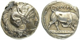LUCANIA. Thurium. Stater 370. Signed oeuvre of the medallist Molossos. Obv. Head of Athena in Attic helmet to r. The helmet is decorated with Scylla s...