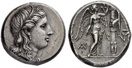SICILY. Syracuse. Agathokles, 317-289. Tetradrachm 310/306. Obv. Head of Kore to r., wearing grain ear wreath, single-pendant earring and necklace; (Κ...
