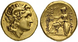 KINGS OF THRACE. Lysimachus, 323-281. Gold stater 323/281, Pergamon (?). Obv. Diademed head right of deified Alexander with horn of Ammon to r. Rev. Β...
