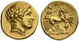 MACEDONIAN EMPIRE. Philip II, 359-336. Gold stater 323/315, Amphipolis. Posthumous issue. Obv. Head of Apollo with laurel wreath to r. Rev. Biga to r....