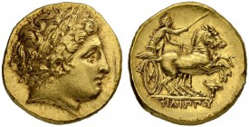 MACEDONIAN EMPIRE. Philip II, 359-336. Gold stater 323/315, Pella. Posthumous issue. Obv. Head of Apollo with laurel wreath to r. Rev. Biga to r. Char...