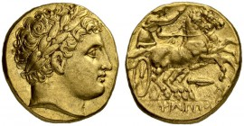 MACEDONIAN EMPIRE. Philip II, 359-336. Gold stater 323/315, Magnesia. Posthumous issue. Obv. Head of Apollo with laurel wreath to r. Rev. Biga to r. C...
