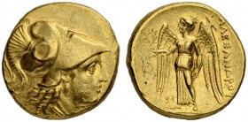 MACEDONIAN EMPIRE. Alexander III, 336-323. Gold stater 324/323, Sidon. Obv. Head of Athena to r. wearing crested Corinthian helmet. Coiled snake on bo...