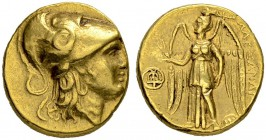 MACEDONIAN EMPIRE. Alexander III, 336-323. Gold stater 305/290, Tyre. Posthumous issue. Obv. Head of Athena in Corinthian helmet to r. Snake on helmet...