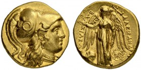 MACEDONIAN EMPIRE. Alexander III, 336-323. Gold stater 317/311, Babylon. Posthumous issue. Obv. Head of Athena to r. wearing crested Corinthian helmet...