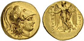 MACEDONIAN EMPIRE. Philip III, 323-314. Gold stater 323/317, Babylon. Obv. Head of Athena wearing Corinthian helmet with coiled snake on bowl to r. Re...