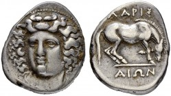 THESSALY. Larissa. Drachm 365/356. Obv. Head of the nymph Larissa facing slightly left, with hair in ampyx. Rev. Horse to r., preparing to lie down; Λ...