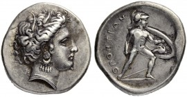 LOCRIS. Opus. Stater about 370, Opus. Obv. Head of Persephone with grain wreath to r. Rev. ΟΠΟΝΤΙΩΝ Helmeted Ajax, son of Oileus advancing to r. with ...