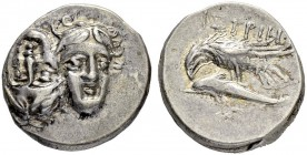MOESIA. Istros. Drachm. Obv. Two facing young male heads with flowing hair. One inverted. Rev. IΣTPIH Eagle over dolphin to l. 5.62 g. AMNG I, 161, 41...