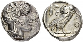 ATTICA. Athens. Tetradrachm 454/404. Obv. Helmeted head of Athena to r. Rev. ΑΘΕ Owl standing r., head facing; olive sprig and crescent behind, all wi...