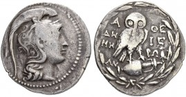 ATTICA. Athens. Tetradrachm 174/173. New Style. Obv. Helmeted head of Athena to r. Rev. Owl standing r. on amphora; A-ΘE across upper fields, ΔH-MH in...