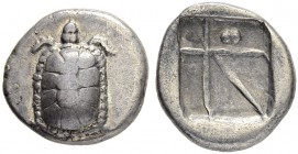 AEGINA. Drachm 400/360. Obv. Land tortoise seen from above. Rev. Skew pattern, two globules in one segment. 5.33 g. SNG Cop. 520 var. BMC Pl. XXIV, 13...