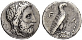 ELIS. Olympia. Stater 348. For the 108th Olympiad. Obv. Laureate head of Zeus to r. Rev. F-A Eagle, with folded wings, standing to r. on Ionic column ...
